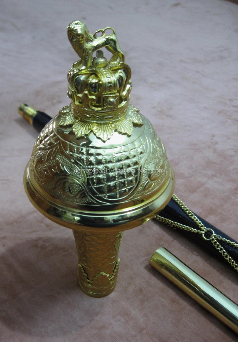 """Tambour Major Mace P u00f4les Gravé T u00eate avec Lion (Plaqué Or) 60"""" Noir Malacca Canne Drapeaux"""