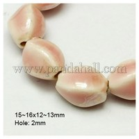 Handmade Porcelain Beads, Pearlized, Twist Oval, Pink, 15~16x12~13mm, Hole: 2mm PORC-D008-06