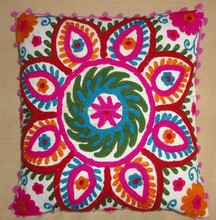 KTH-121C Indian colourful embroidery Suzani Cushion Cover designer pillow cover manufacturer & wholesaler