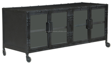 Industrial Style Dark Metal Tv Stand