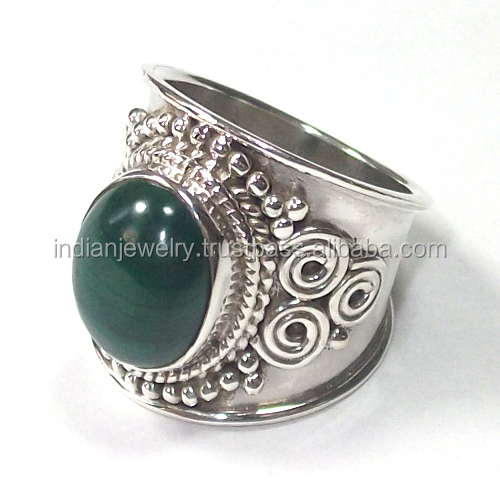 925 sterling silver rings wholesale malachite rings semi