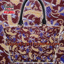 Hand made Beaded PERANAKAN Porcelain Leather and Batik Tote Bag