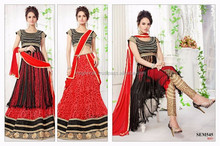 RED TWO IN ONE CONCEPT ANARKALI SALWAR KAMEEZ AND LEHENGA-BRIDAL NEW FASHION ANARKALI SUITS-PARTY WEAR SEXY LOOK ANRKALI SUITS