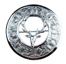 TC Men's Kilt Fly Plaid Brooches Stag Rampant Antique/Scottish Thistle Brooches