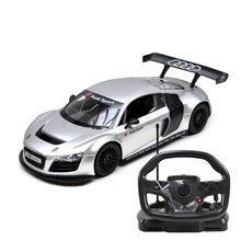 Rastar Licensed Audi R8 with steering wheel Remote Controlled Battery Operated RC Toy Racing Car 1:18 Scale Silver and Black