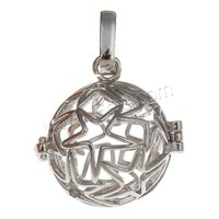 Ball Pendant Brass with brass bell & Rhinestone Clay Pave Round plated with star & hollow more colors for choice nickel lead &