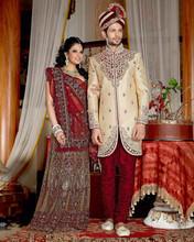 Designer Wedding Cream Sherwani for groom