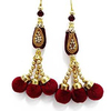Beaded Red Tassel Latkan Sari Blouse Accessories Lace Craft Supplies India 1 Pair FRA27D