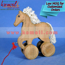 The Cutie Horse - Creative Wooden Pull Toy - Handmade Wooden Horse Toy - Natural Finish custom wooden toy