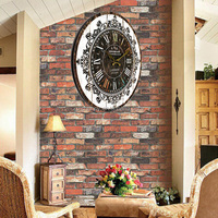 Hot sales Noiseless design Wall Clock Tracery Vintage Rustic Shabby Chic Home Office Cafe Bar Decoration Art