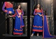 Gorgeous heavy embroidered long sleeves anarakali choli blue & rose pink salwar kameez