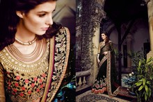 stone work designer net sarees