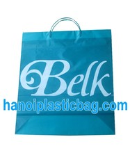 Durable different shape colored hard handle rigid handle plastic PE bag for clothing