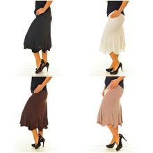 Nouvelle Elasticated Waist Ity Panel Skirt Flared Hem Calf Length