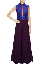 Luxury Fashionable Party Wear Celebrity Chanderi Silk Embellished Wine and Blue Embroidered Jacket With Jumpsuit For Women