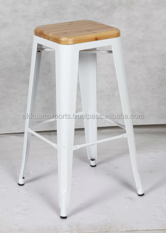 Vintage French Industrial Bar Stool With Wood Top Counter