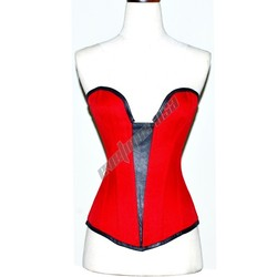 Sexy waspie Full Bust Genuine Leather and Cotton Corset EU-202 sz 3XS/32~7XL/56