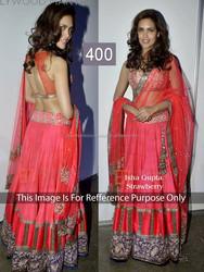 Isha Gupta in Pink Net and Silk Georgette Designer Lehenga