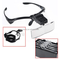 New Arrvial!!! Excellent Quality 5 Lens Eyeglasses Head Magnifier Magnifying Glass Loupe Jewellery Watch Repair Tool + 2 LED Hot