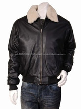 Mens Top Gun Aviator Style Bomber Leather Jacket Viggo Black