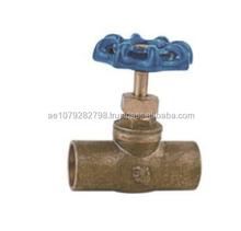 blue aluminum handle male thread Brass Stop cock Valve ZAT-DX0827