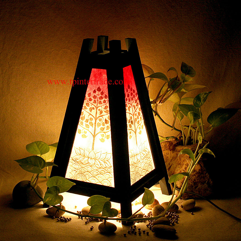 Thai oriental home decor bedside table lamp wood bamboo for Oriental home decor