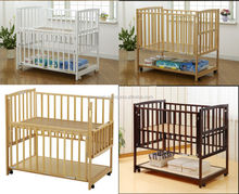 Colorful and wooden baby cribs as child furniture with high legs