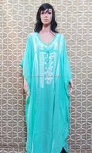 Traje de baño bikni encubrimientos mujeres del vestido kaftan en algodón