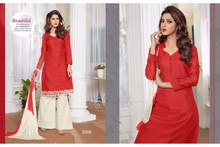Plain designer Red straight long salwar kameez