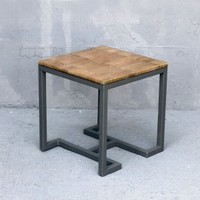 Natural Leaf Side Table with Clear Cast