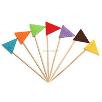 Cupcake Triangle Toothpicks 7Pcs/ lot Toppers Wedding Cocktail Party Food Picks Birthday Bridal Showers Cake Decoration