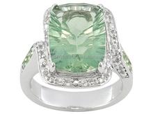 Green Fluorite & Tsavorite And White Topaz Rings, Genuine Green Fluorite & Tsavorite And White Topaz Stones