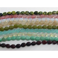 "Oval Gemstone Strands Mix, Assorted Colors, about 8mm wide, 10mm long, hole: 1mm; about 38 pcs/strand, 15"" G469"