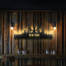 Decorative Metal steel wall art New York City Sign with LED Light backlitart for home decoration
