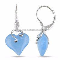 2015 Hot Fashion Jewelry 18K White Gold Aquamarine Crystal Heart Pendant Earrings