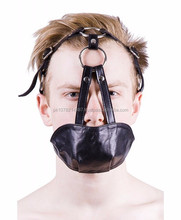 NEW 2015 BLACK BONDAGE MOUTH CHIN GAGS SOFT LEATHER MATERIAL