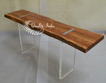 Modern Sleek Live Edge Wooden Table