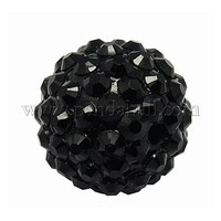 Resin Rhinestone Beads, DIY Material for Basketball Wives Earrings, Round, Black, Size: about 18mm in diameter, hole: 2mm