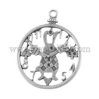 Tibetan Style Antique Silver Tone Alloy Alice in Wonderland Rabbit Clock DIY Jewelry Pendant Accessories X-PALLOY-A18705-AS-LF