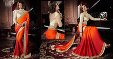 Orange & Red Shaded Jaquard with Cream Color work Border Elite Graceful Designer Sarees