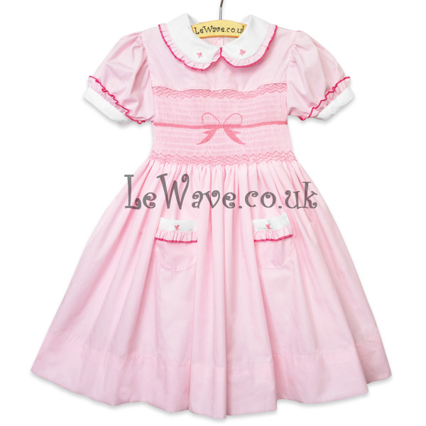 Hand Smocking Patterns Red Bow Hand Smocked Dress For