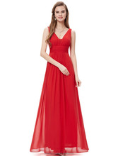 Elegant Red Deep V-neck Maxi Woman Evening Dress HE08110VE
