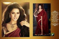 Terriffic Maroon Party Wear Traditional Saree