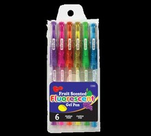 BAZIC 6 Scented Fluorescent Color Gel Pen w/ Cushion Grip