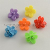 Kawaii Kids Hair Accessories Acrylic Small Flower Hair Claw Clips, Mixed Color, 15x18mm PHAR-Q008-MC