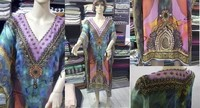 Laser Georgette multi color Print with glass beads Women's Kaftan
