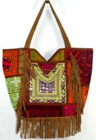 Vintage Leather Fringe Bag Exclusive fashionable women Antique Indian Banjara Tote Bag