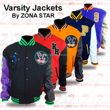 Two Tone Varsity Style Jacket. 55% Wool, 45% Polyester with Synthetic Leather Sleeves