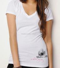 WOMEN'S ECO FASHION SHORT SLEEVE V-NECK T-SHIRT/Bulk V-neck T Shirt / 100% Polyester V-neck T-shirt