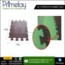 Stun Spongy and Slip Safe 40-I Interlock Gym Rubber Tiles